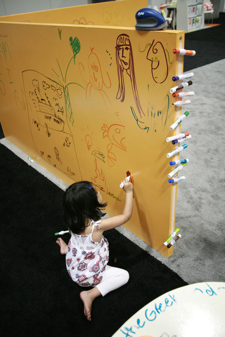 "Go ahead, let them write all over the walls: One coat of the water-based <a href=""http://www.ideapaint.com/"">IdeaPaint</a> turns an entire child's room into a huge dry-erase board compatible with AP non-toxic pens. Specifically for the show, the company r"