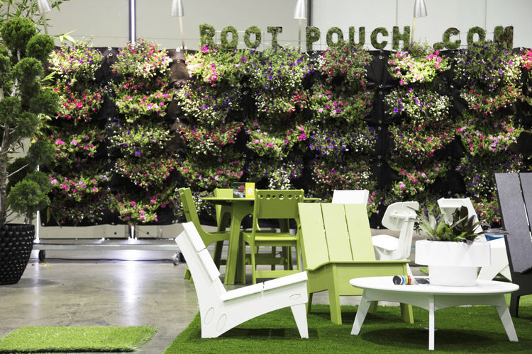"A living wall by <a href=""http://rootpouch.com/"">Root Pouch</a>, a company that produces a variety of eco-friendly plastic alternatives."