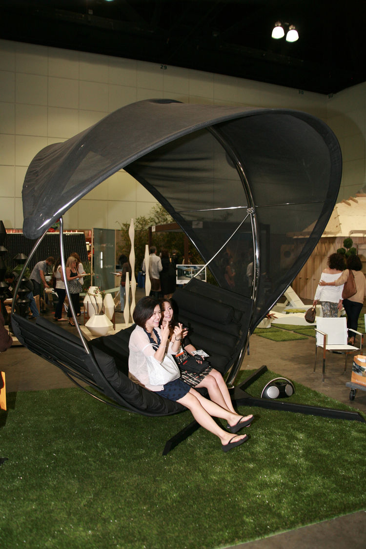 "This might be the only shot of The Wave, a hammock-and-sun-shade by <a href=""http://www.royalbotania.com/"">Royal Botania</a>, that doesn't have a blissed out person swaying inside. It was a huge hit for weary show-goers."