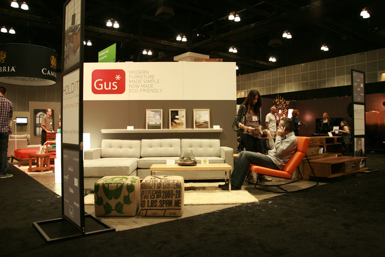 "<a href=""http://www.gusmodern.com/"">Gus*</a>, a Toronto-based furniture company, showed off its pieces in the Hold It Contemporary Home booth. The furniture prides itself of it's upholstered seating made with 100-percent FSC-certified wood and sustainable"