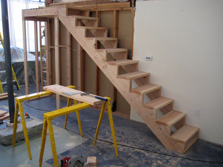 We used the completed, rough stair like this for a while before I got to cladding the wood box.
