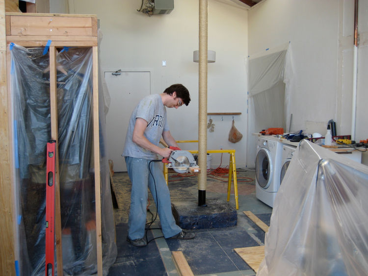 This was my typical workshop throughout the construction of the wood box. I had two portable metal sawhorses that I would set up, and I used my task chair at my desk as support when I needed to cut really long boards. Once I measured and cut all the indiv