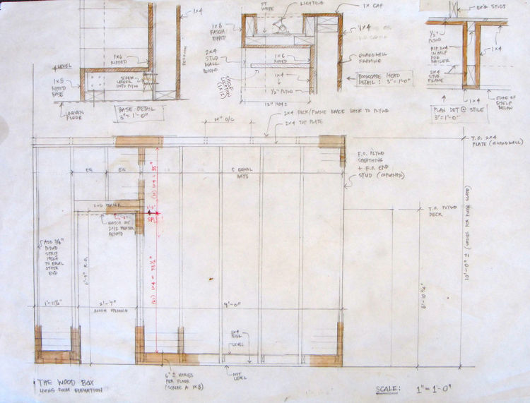 This shows the main elevation of the wood box from the living room side; the bedroom is within and the loft is above, with shelves along the facing wall and stairs adjacent to the right. There are three typical details: the head/top (with the integral lig
