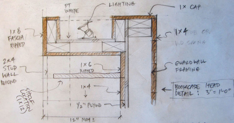 This is the original section detail that shows the cavity for recessed lighting on top of the bookcase in the loft. This fixture provides indirect lighting for the living room—it pumps up onto the ceiling and reflects down, but you don't see the light sou