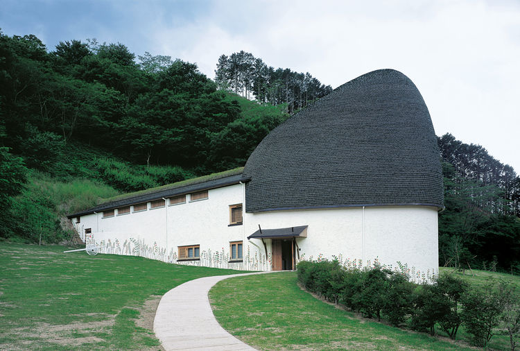 "Fujimori's playful approach to architecture is on display in his building that houses the Nemunoki Museum of Art. He wanted this humpbacked children's museum to resemble ""a mammoth."""