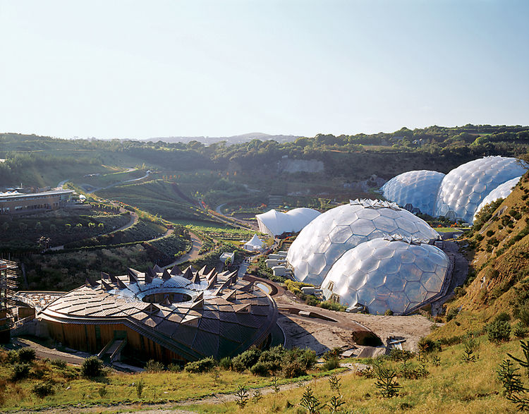 Utopian at least in appearance, Grimshaw's Eden Project is Cornwall, UK, from 2001, owes a debt to Bucky Fuller. Photo by Peter Cook/VIEW.
