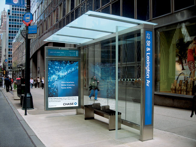 An efficiency-suggesting bus shelter in New York, designed in 2006. Photo by Matt Greenslade.