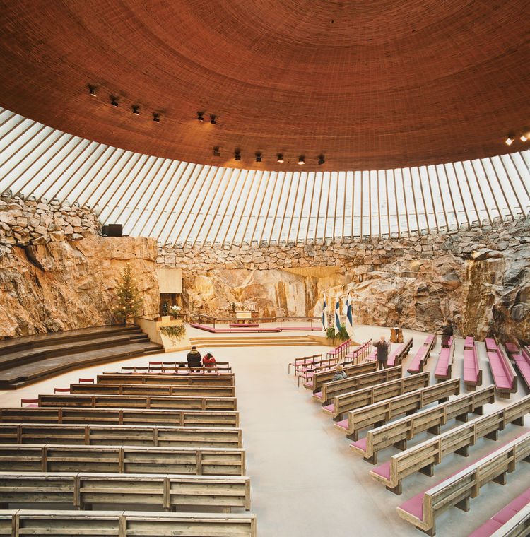 The 1969 Temppeliaukion Kirkko, or Rock Church as it is known, is one of the most popular places to visit in Helsinki. The dramatic interior space was created from a solid granite outcropping, and is often used as a concert hall because of its superior ac