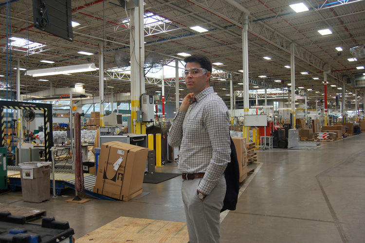 Inside the manufacturing facilities, huge skylights make for a most picturesque factory floor. With so many machines and equipment, it was necessary to don these not-very-fashionable safety glasses. As one can see, Senior Editor Aaron Britt made the best