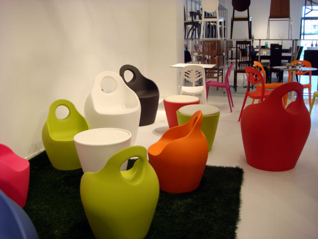 "<a href=""http://www.domitalia.it/"">DOMITALIA</a> presented an eye-catching group of day-glo outdoor seating, which included the Baba armchairs and coffee table designed by Radice & Orlandini in the foreground and the Foryou2 by Dual Design in the backgrou"