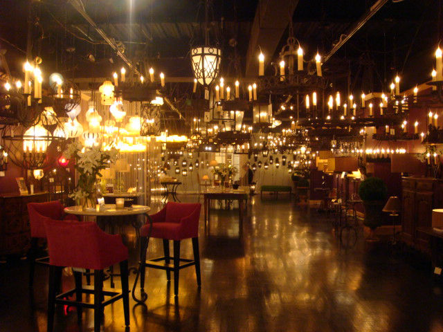 Quite the warm ethereal glow emanating from this lighting showroom.