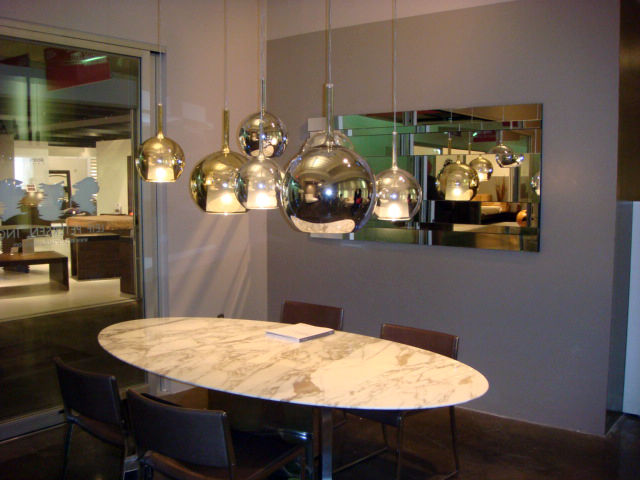 "An arrangement of Penta lamps illuminate the <a href=""http://www.leifpetersenfurniture.com/"">Leif Petersen</a> showroom."