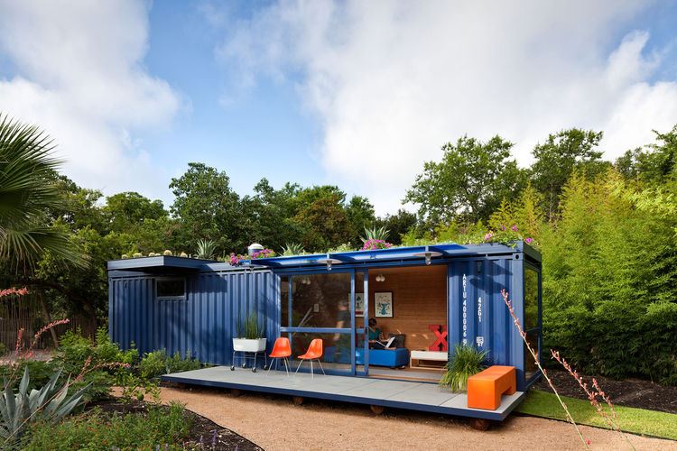 """""""In the beginning I really wanted the container to be off the grid but solar is still very expensive in San Antonio, especially for small spaces,"""" says Hill. """"The green roof was an element that I had not thought of at the beginning, but as it turns out sa"""
