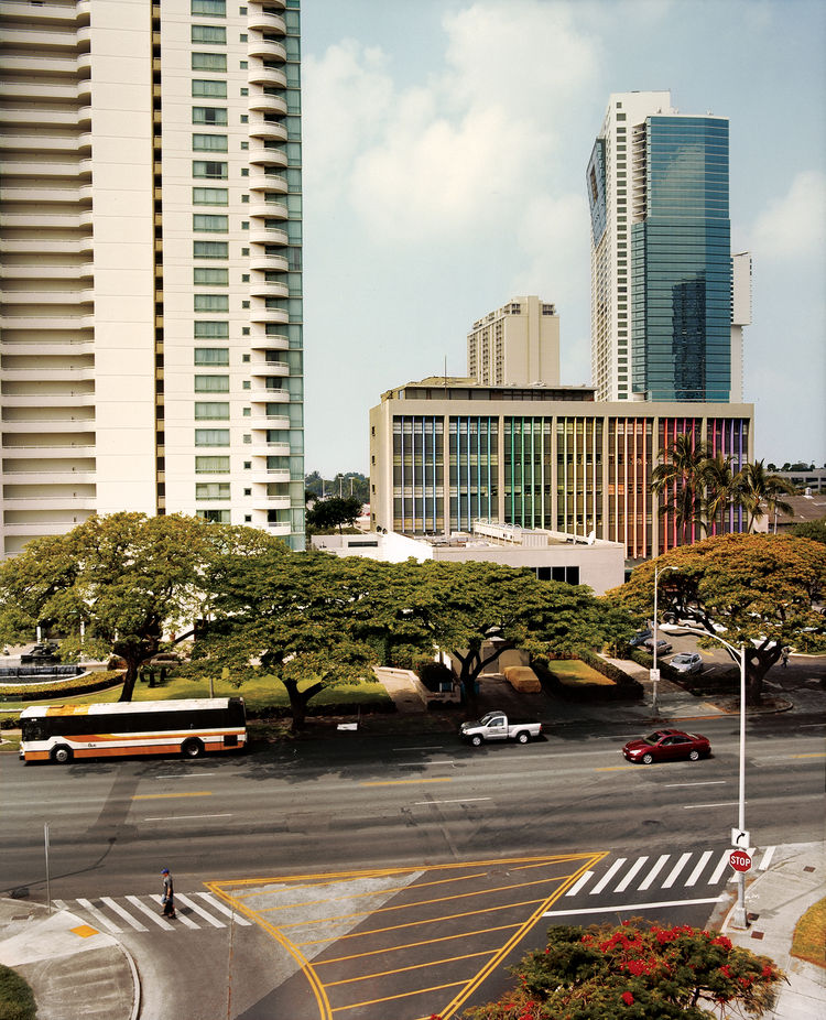 When Vladimir Ossipoff's six-story Hawaiian Life Insurance Building was built in 1951, it was Hawaii's tallest building. The aluminum fins, originally a pale blue-green but painted in rainbow shades in the '60s, were designed to reduce sun glare.