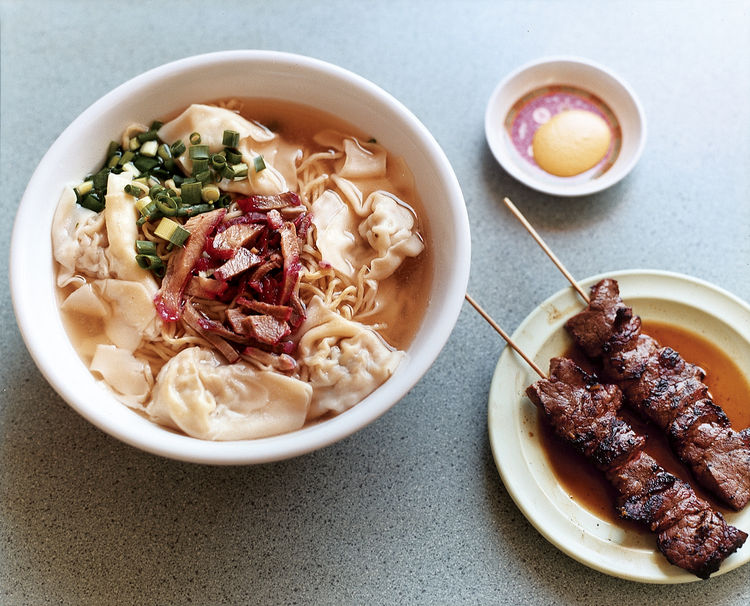 A bowl of saimin and skewers of chicken satay at Palace Saimin are a tribute to Hawaii's multiculturalism.