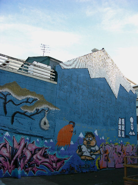 The streets are meticulously cleaned every night, but thankfully the great graffiti appears untouched. There were fantastic scenes and bright geometries around many turns in Reykjavik city center. The top of this house-mountain was made with suspended one
