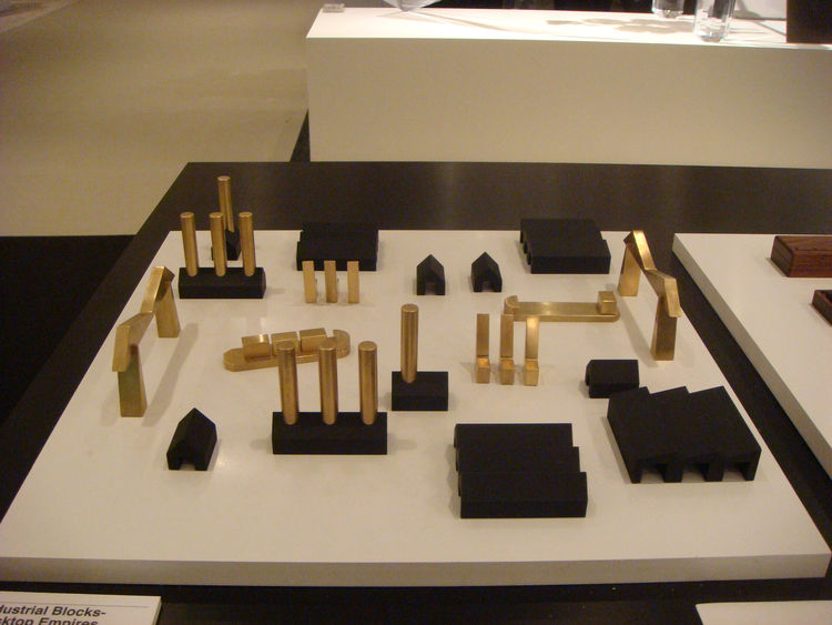 "Part of the <a href=""http://www.designersinresidence.org/Tools-for-Everyday-Life"">Tools for Everyday Life</a? exhibit, these brass pieces are machine shop items that happen to look like industrial architectural miniatures."