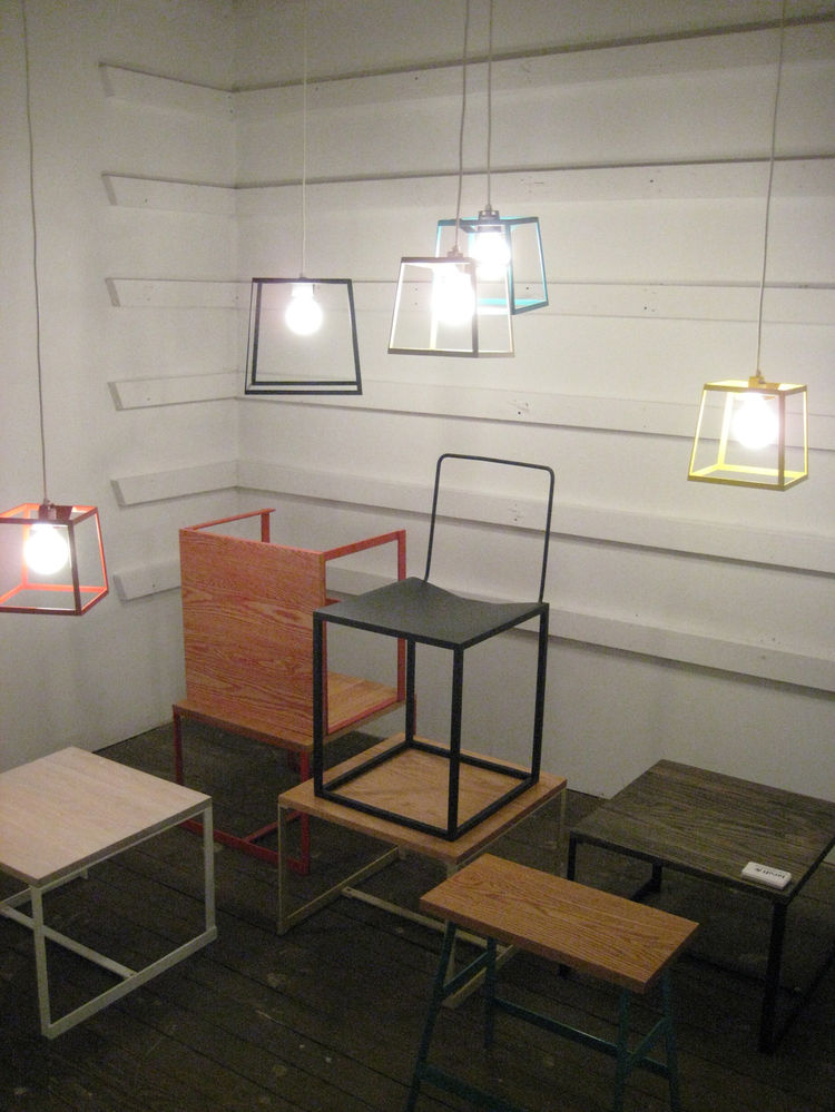 "Minimal pendants, tables, and chairs by <a href=""http://iacolimcallister.com/"">Iacoli & McAllister</a>."