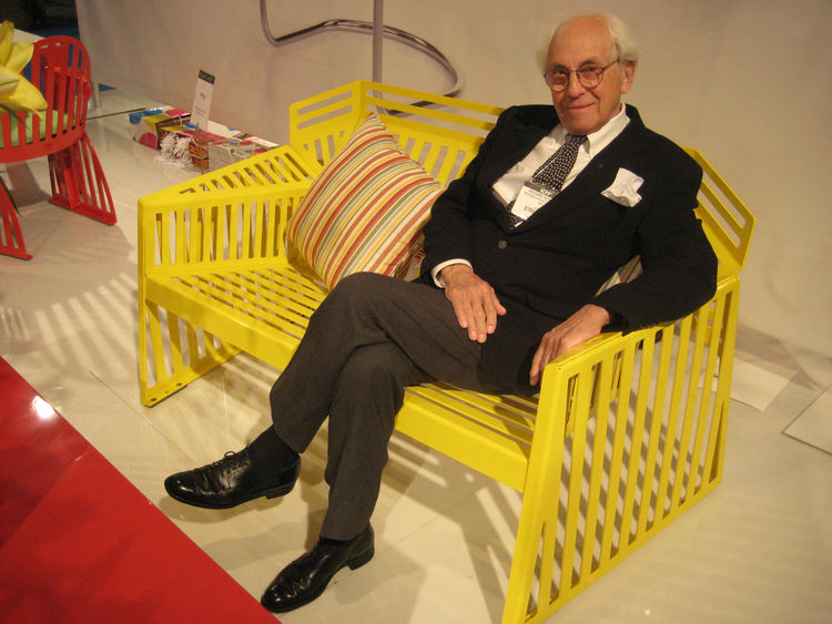 Richard Schultz looking good, lounging in one of his new double Wing loungers in daffodil yellow. He said it was based on a piece he designed in the 80s—a prototype made out of cardboard—that was made possible to manufacture with laser cutting techniques.