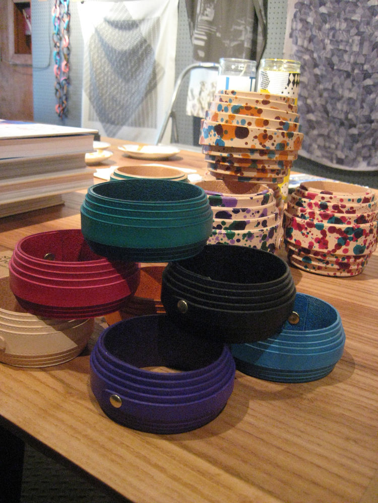 "The ground floor housed the <a href=""http://www.nohodesigndistrict.com/event/the-sight-unseen-pop-up-shop/"">Sight Unseen pop-up shop</a>. I was eying these really lovely leather bangles by <a href=""http://www.studyoportable.com/"">Study O Portable</a>."