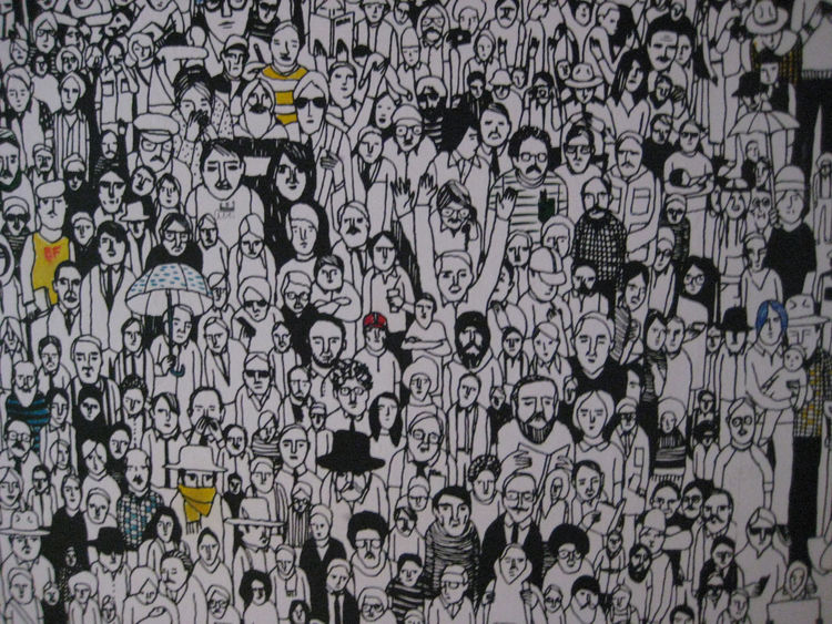 Okay, this is not in NoHo, but I loved this people-packed wallpaper at The Standard hotel down in the Meatpacking district.<br /><br /> Be sure to follow @dwell this week and next to catch our favorite finds at ICFF 2011!
