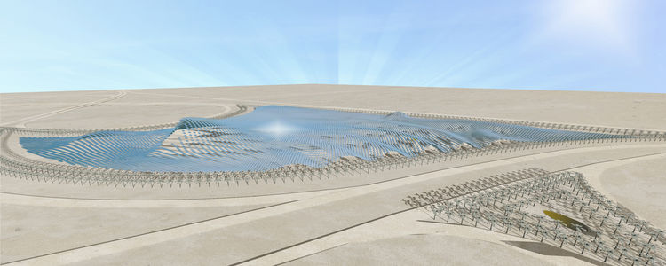 "Winning a third place mention from the jury, ""Solaris"" represents one of the more pragmatic design entries. Acting as a sort of solar canopy, this renewable energy structure was developed in collaboration with Livermore, California-based solar technology"