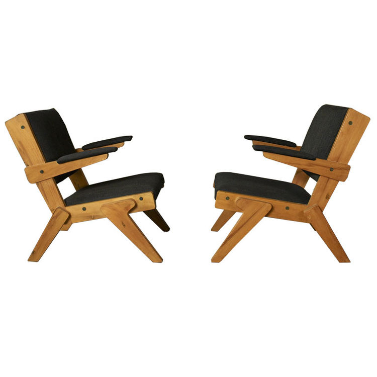 "<a href=""http://www.1stdibs.com/furniture_item_detail.php?id=245913"">A pair of chairs</a> designed by Bo Bardi out of peroba rosa wood in 1951, currently part of Noho Modern's collection. ""She is the single most important architect and designer behind Osc"