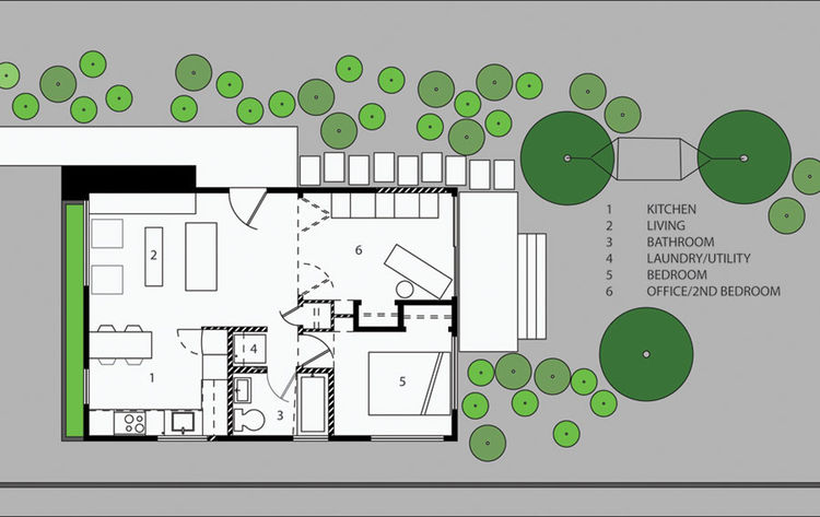 "Here's the plan of Linden's 600-square-foot Seattle residence.<br /><br /><p><em><strong>Don't miss a word of Dwell! Download our </strong></em><a href=""http://itunes.apple.com/us/app/dwell/id411793747?mt=8""><em><strong> FREE app from iTunes</strong></em>"