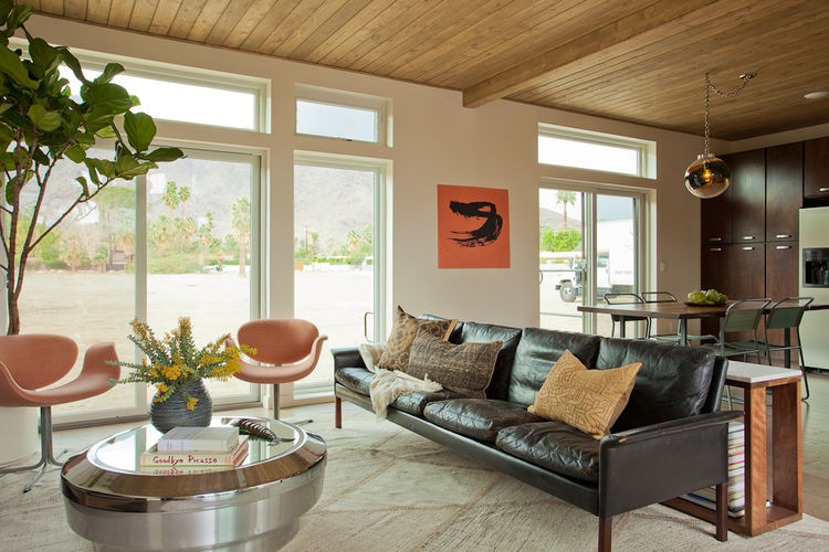 The home takes on a comfortable, natural texture thanks to cork floors, wood ceiling, natural wood millwork, and wood siding. You can also set the mood using your own iPhone, thanks to a tech-controlled lighting system