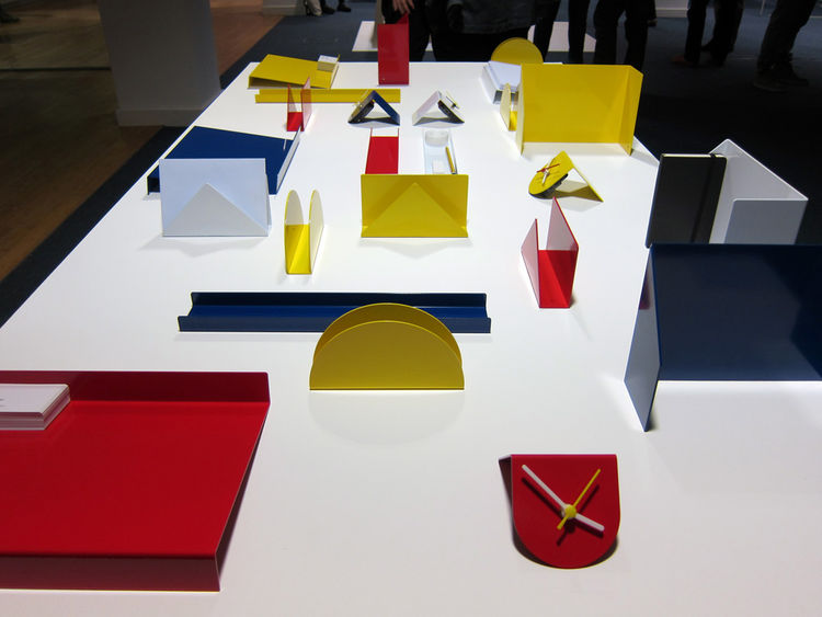 "Just downstairs at a show of young designers' work entitled Arrival (at least that is the best I could make out from the ""graphically designed"" poster), I was charmed by this Colorforms-esque desk set by recent RCA-grad David Weatherhead that is available"