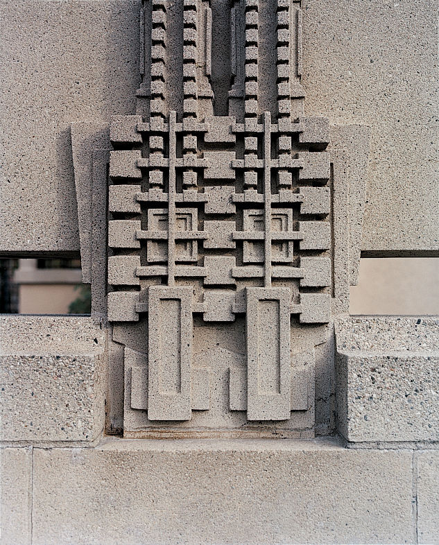 An exterior detail of Frank Lloyd Wright's Hollyhock House. The house was designed for the daughter of local oil magnate William Barnsdall in 1921.