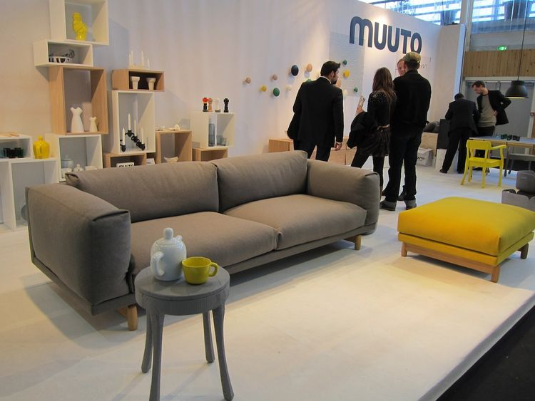 I loved most things at Muuto, known for their fresh Scandinavian designs. They just unveiled a whole fleet of new designs, including two visible in this photo: their first couch ever, the 'Rest,' which I will attest is incredibly comfortable; and the 'Bul