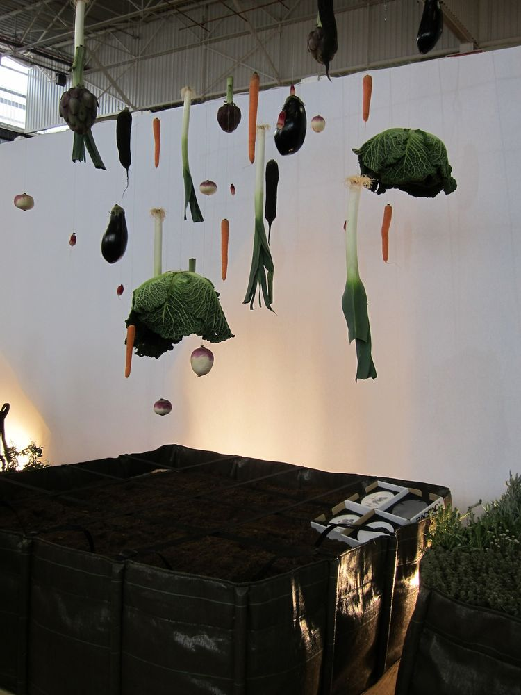 This display was one of the more creative at the fair: vegetables dangling on clear thread, above an array of 'Bacsquares' by BACSAC.
