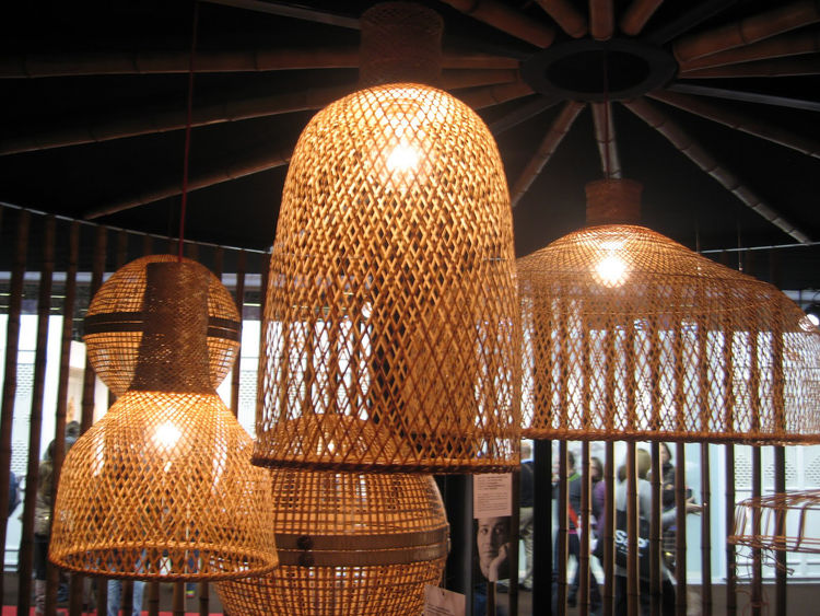 """Lampe by Mark Eden Schooley for <a href=""""http://www.pachadesign.co.uk/"""">Pacha Design</a>. These lamps are made of some kind of """"good"""" material. The thing that struck me was the simple, nice curves of the shades mixed with the moiré effect that the weave c"""