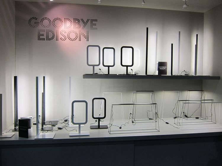 LED lighting emerged as a big trend this year, with almost every lighting company presenting their take on the technology. Goodbye Edison is a new company (so new their website doesn't launch until next week) with thin, bright, minimalist designs.