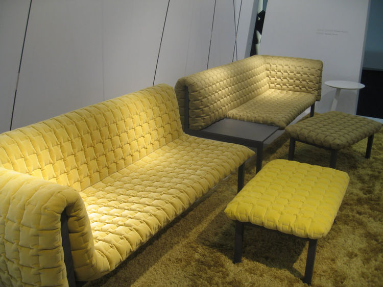 """<a href=http://www.dwell.com/articles/plain-and-sempe.html/"""">Inga Sempé</a>'s Ruche Couch for <a href=http://www.ligne-roset.com/Countries/WorldRegions.aspx/"""">Ligne Roset</a>: a minimal platform bench with a draped, textured cushion. It's simple, nice, an"""