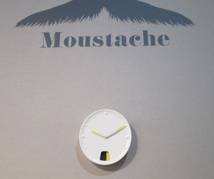 Paris design company Moustache had but one new offering on view: this cute clock, with a yellow panel that swings back and forth to mark the seconds.