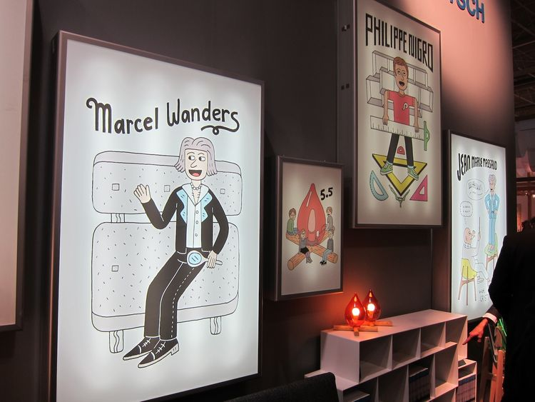 I loved the playful display at the Skitsch booth. I wonder how these designers feel about being immortalized in cartoonish poster form? Check out the Marcel Wanders poster—he looks like such a playboy.