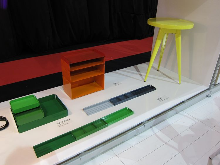 These colorful storage pieces (green trays on left, stacked red and orange trays on right) by Normal Studio for Tolix would brighten any desk.