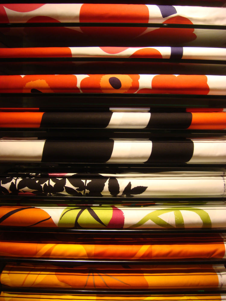 The fabrics are available in an array of colors and patterns.
