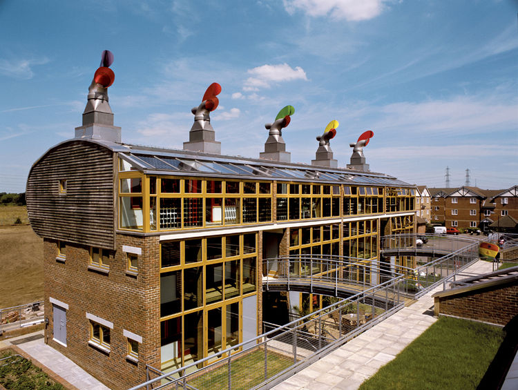 The Beddington Zero Energy Development, or BedZED, by London's Bill Dunster Architects, exceeds Architecture 2030's targets, using solar energy and roof gardens. Photograph by Raf Makda/VIEW pictures.