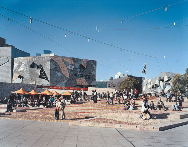 Another place for locals to go is Federation Square, a public gathering place.