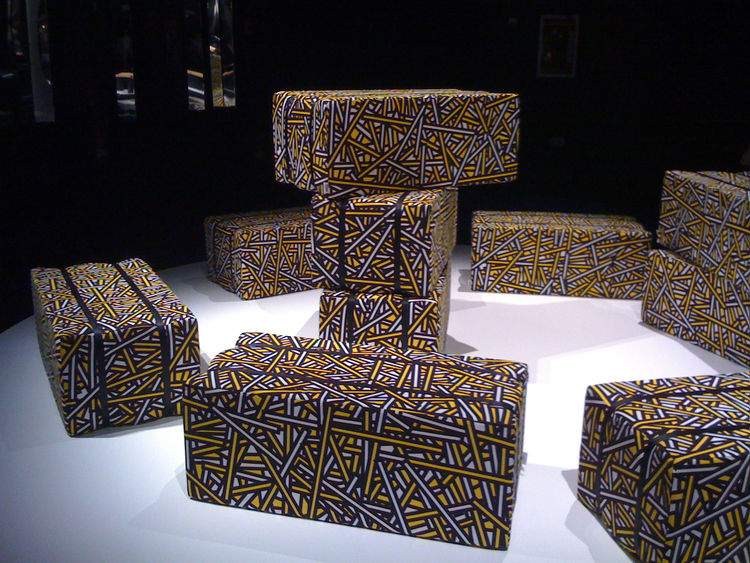 After lunch we traipsed over to the Teatro Versace to see a showcase of new designs from Established & Sons. Among the offerings was Haystack, a graphic and pliable seating option by Richard Woods and Sebastian Wrong.