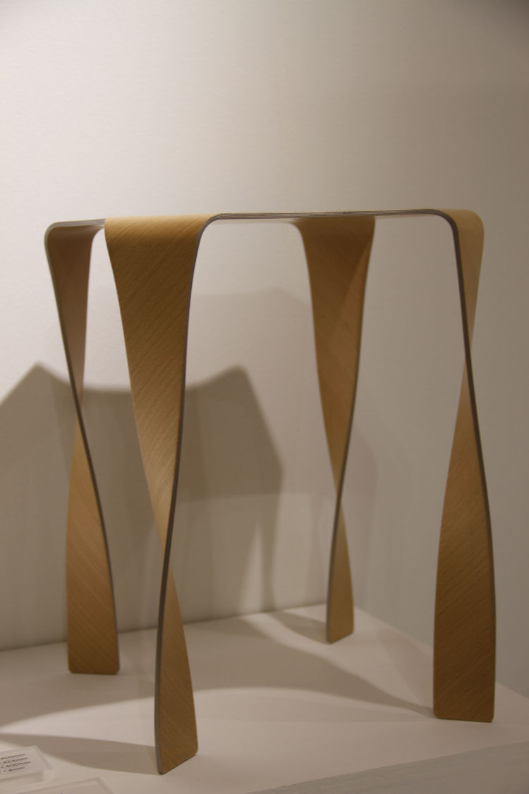 "Designer <a href=""http://tani-matsumura.jp/"">Takaaki Tani</a>, or t/m, based in Tokyo, displayed his plywood collection, entitled Wafft. The stool, shown here, boasts a sinuous form and a minimal amount of material."