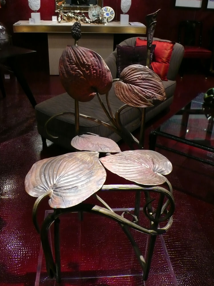 "Front and center at <a href=""http://www.dragonetteltd.com/search.php"">Dragonette</a> was one of an edition of eight Hosta chairs by Claude Lalanne, named for the plant and cast in 2000. A copper wash over the bronze already shows a good patina."