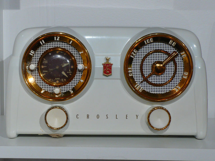 "From Albuquerque-based <a href=""http://www.palettecontemporary.com/"">Palette Contemporary Art and Craft</a>, a 1952 Crosley white dashboard radio."