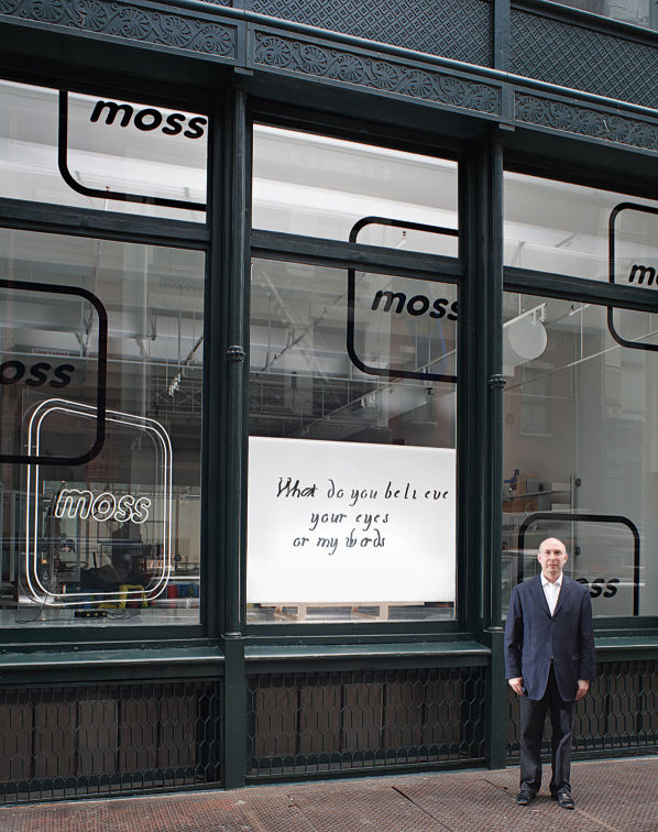 The aptly named exhibition Poetic License asked passersby to contemplate the deeper meaning of design from the window of Moss's Greene Street landmark.