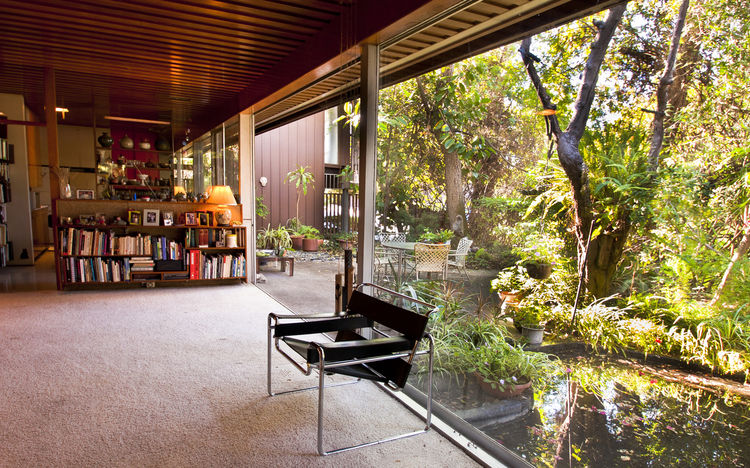 """The living room of Dion Neutra's house on Neutra Place in Silver Lake, which exemplifies the Neutras' early """"nature-near"""" philosophy.<br /><br />Photo by Thomas Kamei, courtesy Dion Neutra."""