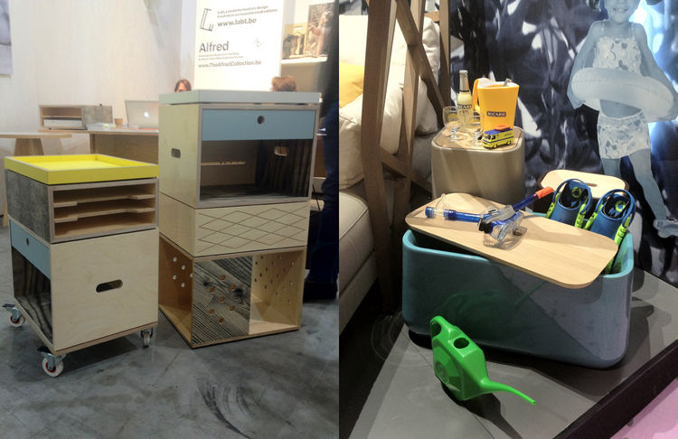 """I noticed a lot of compartmentalization in the furniture shown at Maison & Objet, from a Mondrian-esque coffee table to the filing cabinets shown by <a href=""""http://www.labt.be/"""">LABT</a> (left) out of Ghent, Belgium, and the containers designed by <a hre"""
