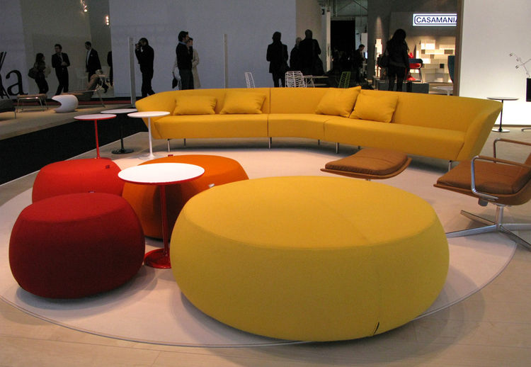 Felt wool upholstery was <i>partout</i> at Maison & Objet, covering everything from statement pieces like these sofas at Arper, to vases, to dining room chairs typically seen in plywood. Except for a few gray felt pieces, most of the upholstery is being d